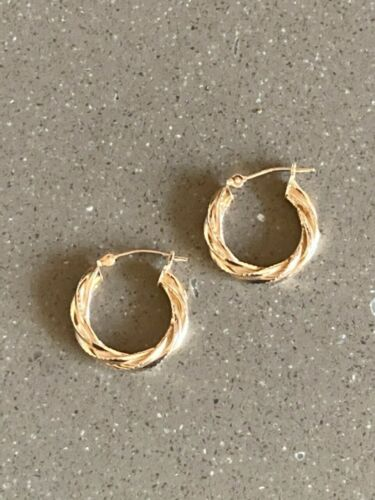 14K Gold Swirl Twist Hoop Earrings