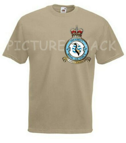 47 SQUADRON RAF CREST PRINTED ON A T SHIRT CHOICE OF COLOURS