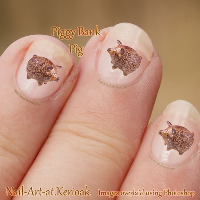 Pig Art Stickers Decals Farm Animal Nailart, Pottery Piggy bank picture