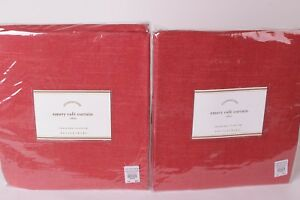 (2) NIP Pottery Barn Emery cafe curtain panels 50x36 red *qty available