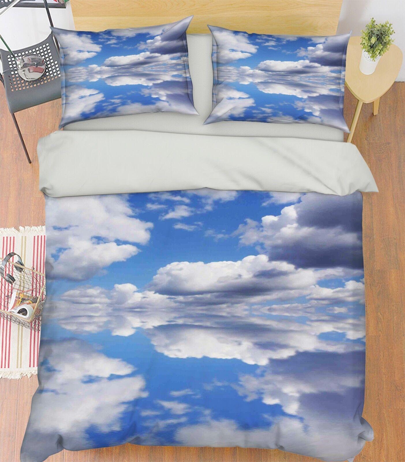 3D Sky Cloud Lake 67 Bed Pillowcases Quilt Duvet Cover Set Single King UK Summer