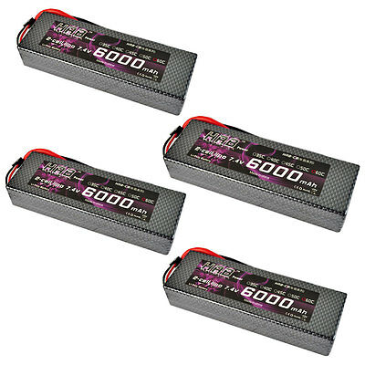 HRB RC Lipo Battery 7.4V 6000MAH 60C 120C Hard Case For Truck 1/10 Traxxas Car