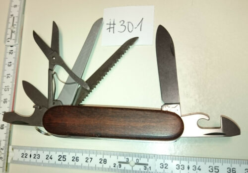 ADLER Messer Taschenmesser mit Holzgriffschalen 13 Funktionen mit Schere  #301