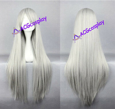 Women's wig long straight wig cosplay wig mixed silver white color general wig