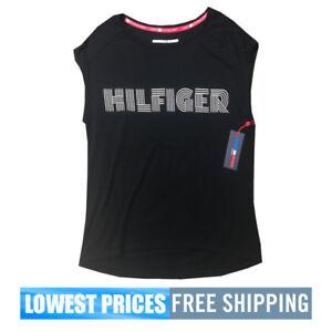 Tommy-Hilfiger-Sport-NWT-Women-039-s-Sleeveless-Top-Shirt-Black-Retro-Free-Shipping