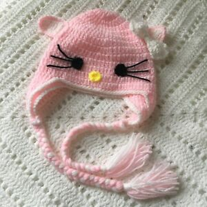 5e0050450b142 Details about Baby Girls Kitty Cat beanie hat cap 2-4y hand crochet NEW