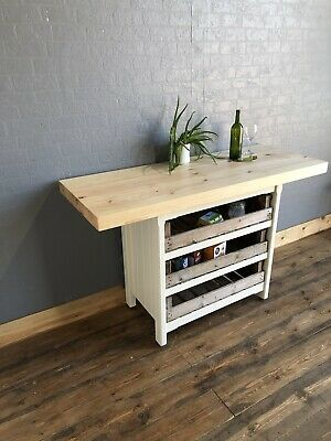 Rustic Wooden Freestanding Kitchen Island Breakfast Bar Table Farmhouse Country Ebay