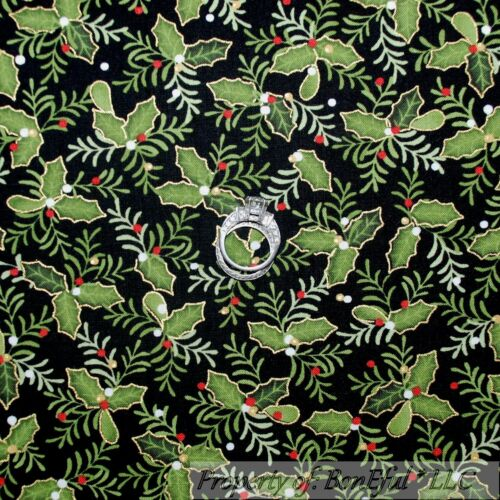 BonEful Fabric FQ Cotton Quilt Red Green White Gold Holly Berry Leaf Xmas Calico