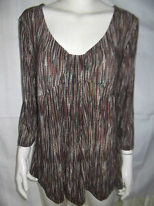 KATIES-Womens-3-4-Sleeve-Brown-Caramel-amp-Cream-Stripe-Top-size-XL