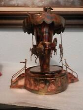 Vintage Copper Colored Tin Musical Carousel, WORKS