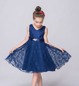 Flower Girl lace Princess Dress Kid Party Pageant Wedding Bridesmaid Dresses A