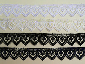 "The Place For Lace Black /'Hearts/' Guipure Lace Trim  1.25/""//3.5cm TOP SELLER"