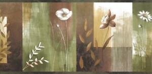 Wallpaper-Border-Bonnard-Moden-Watercolor-Olive-Green-Tan-Color-Block-Floral
