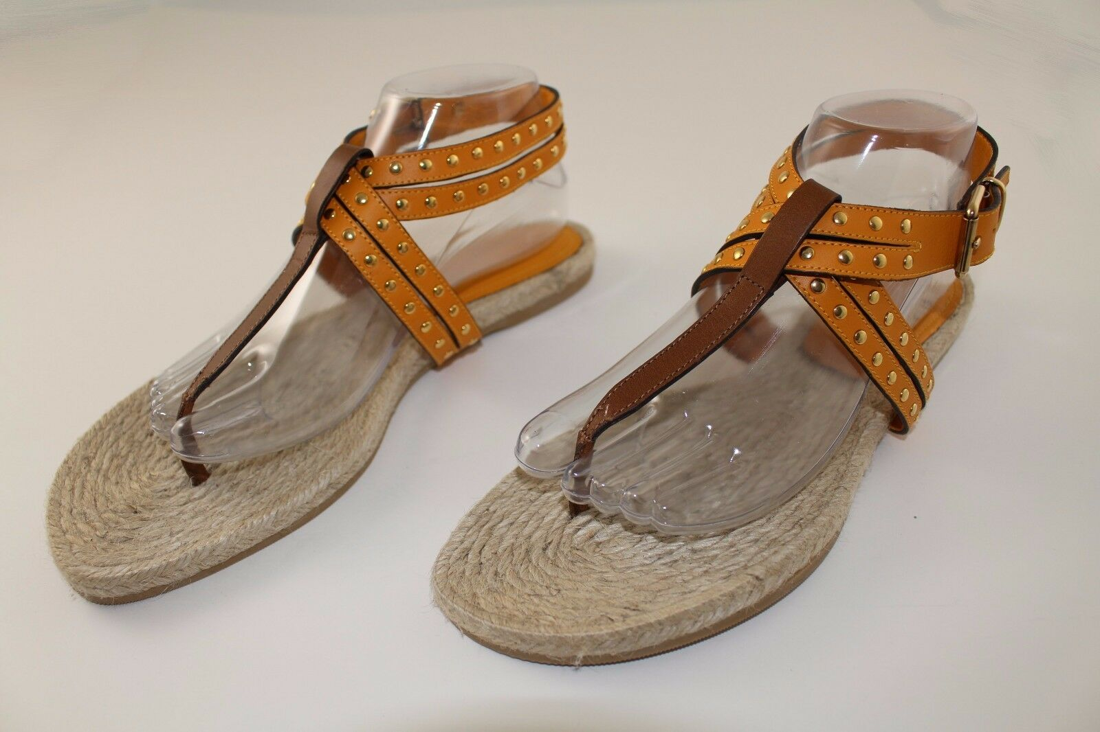 Burberry Brown Studded Leather Espadrille Sandals sz  40   US 10