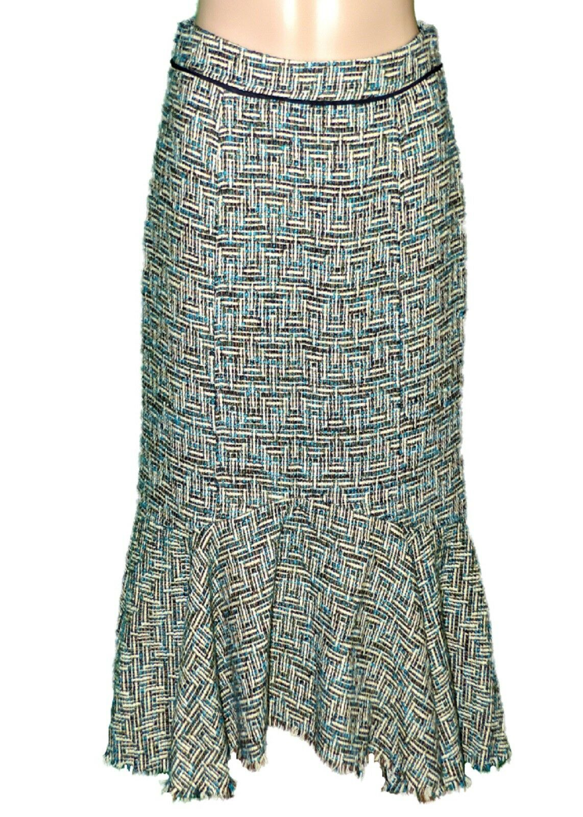 ANTHROPOLOGIE Elevenses Womens Skirt Teal Green Tweed Sz 2 Lined EUC