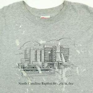 Destroyed-Vtg-Hanes-T-Shirt-2XL-Paint-Distressed-NC-Baptist-Hospital-Gray-Grunge