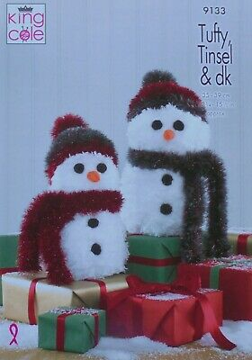 King Cole Tinsel Chunky Easy Knit Knitting Pattern Snowman Christmas Toys 9030