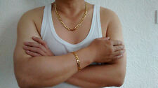 """Gold Filled 8mm 24"""" Necklace 8"""" Bracelet Chain Set Gift Box Men Fathers Birthday"""