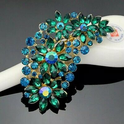Fashion Crystal Glass Flower Clusters Leaf Resin Brooch Pin Women Girls Clothes