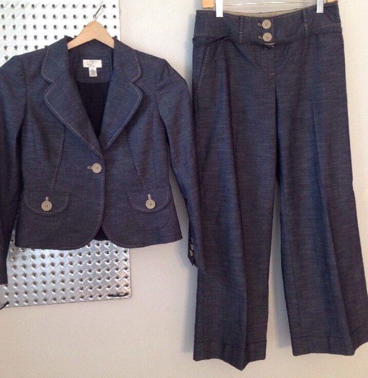 Women's 4P Anne Taylor Loft Petites Denim Suit
