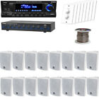 """USB MP3 Receiver Bundle w/ 4"""" White Box 3-Way Speakers, Speaker Selector, Wires"""