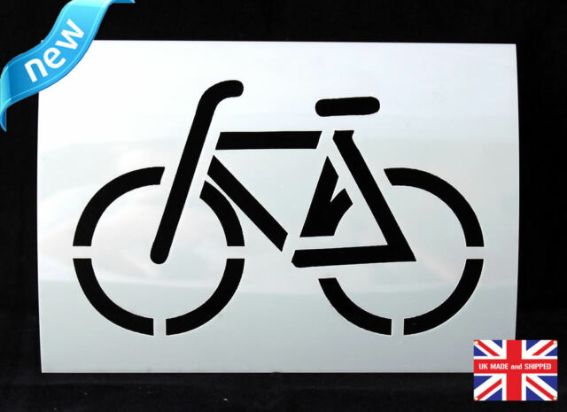 Reusable Bicycle Airbrush Painting Stencil Sign Wall Door Floor Pavement Crate