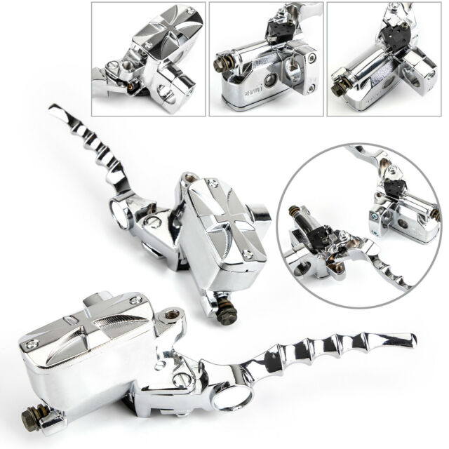 "1"" CNC Skull Hydraulic Brake Master Cylinder Clutch Lever For Softail Glide /A5"