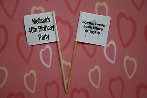 24 Personalised 40th Birthday Cup Cake Toppers Party Picks Flags