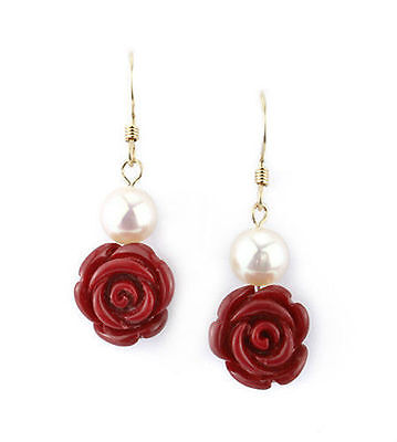Akoya pearl red coral rose gold filled drop earrings EAR040049