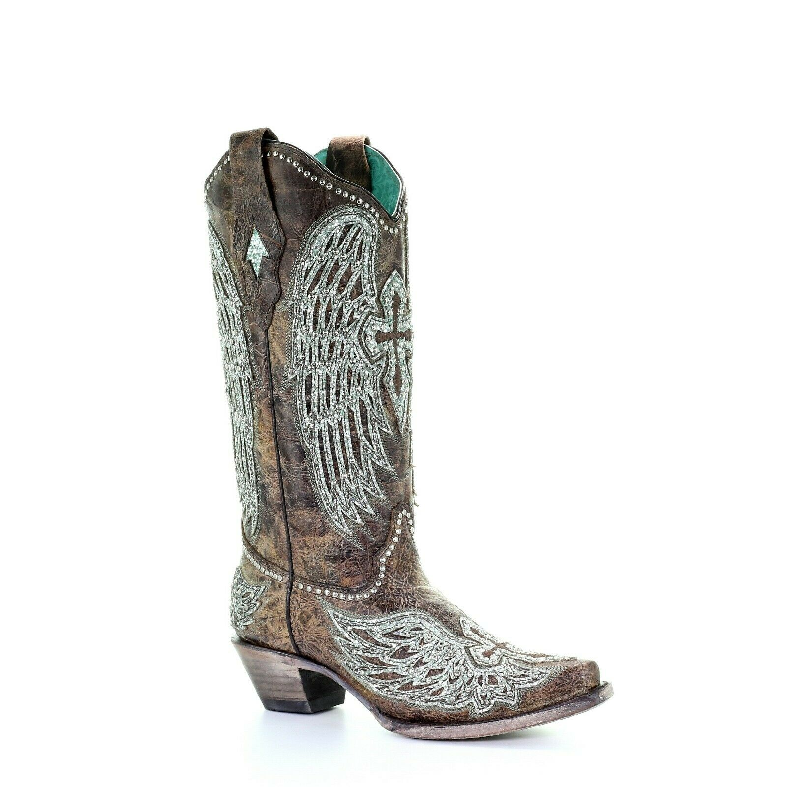 Corral Ladies Brown Wings Cross Overlay & Embroidery Studs Boots A3741