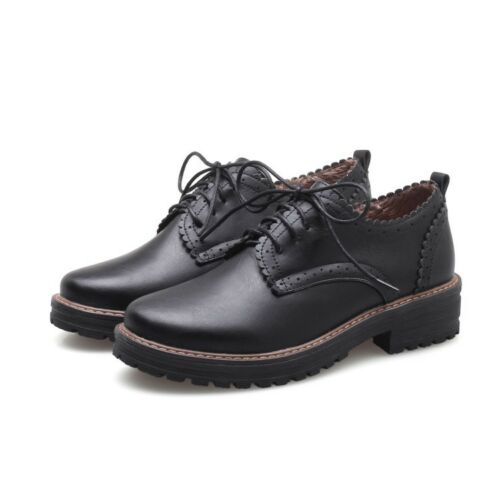 Women Lace up Brouge Shoes Ladies Flat Heel Round Toe Oxfords Pumps Chunky Shoes
