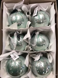 image is loading 6 x glass mint green christmas tree bauble