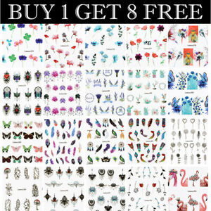 LEMOOC-Nail-Art-Water-Decals-Flower-Feather-Leaf-Sticker-Tips-Buy-1-Get-8-Free
