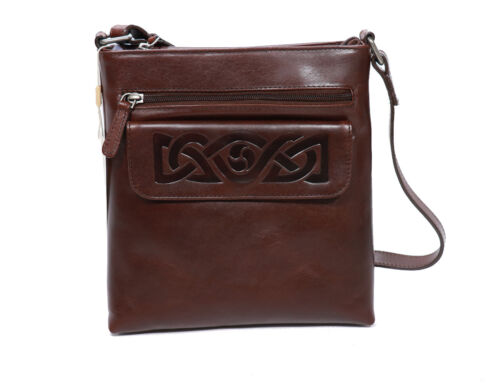 New Crossbody Bag for Women Celtic Embossed Leather Irish Made Lee River Leather