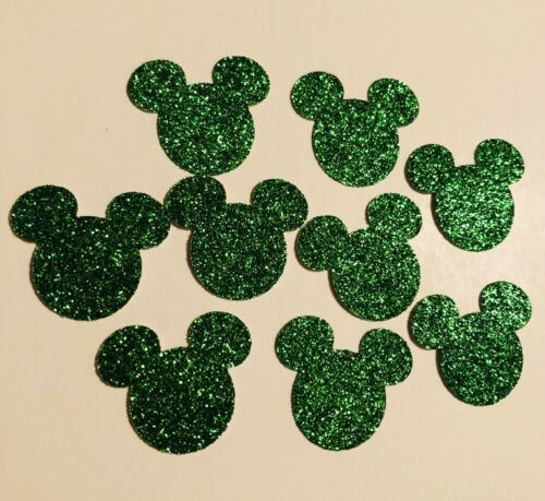 100 Mickey Mouse Head Punch Cut Outs Confetti handmade - Sparkle Green