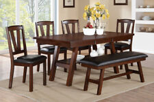 Amazing Poundex F2271 F1331 F1332 Dark Walnut Table Chairs Bench Caraccident5 Cool Chair Designs And Ideas Caraccident5Info