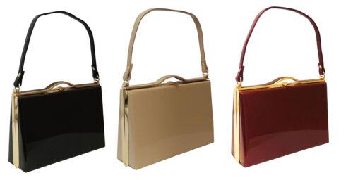 1940s Handbags and Purses History   Retro 1940s 50s WW2 Wartime Black Nude Plum Classic Granny Kelly Box Hand Bag $28.95 AT vintagedancer.com