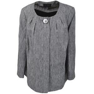 Ann Harvey Designer Taylored Linen Swing Jacket Grey Dress Coat Large Plus Sizes