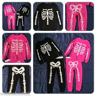 Baby Girls Boys Skeleton Pyjama Set PJ's Glow in the Dark Fancy Dress Halloween