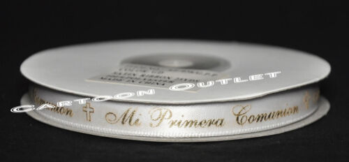 "MI PRIMERA COMUNION PRINTED RIBBON 3//8/"" SATIN CONTINUAS RIBBON WHITE GOLD 25 YDS"
