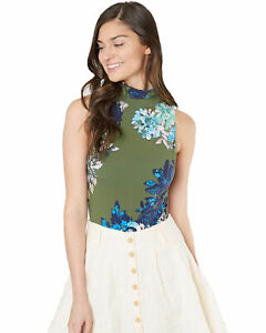 Free-People-Womens-Pixie-Floral-Snap-Bodysuit-New-Without-Tags-Green-Small