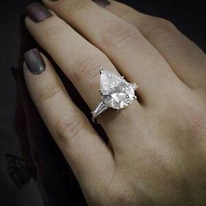 1 90 Ct Pear Cut Baguette Side Stones Diamond Engagement