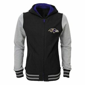 low priced 3ef49 7e46e Details about Baltimore Ravens Varsity Hoodie Jacket JUNIORS/GIRLS Size  Large (6X) SRP $45.00
