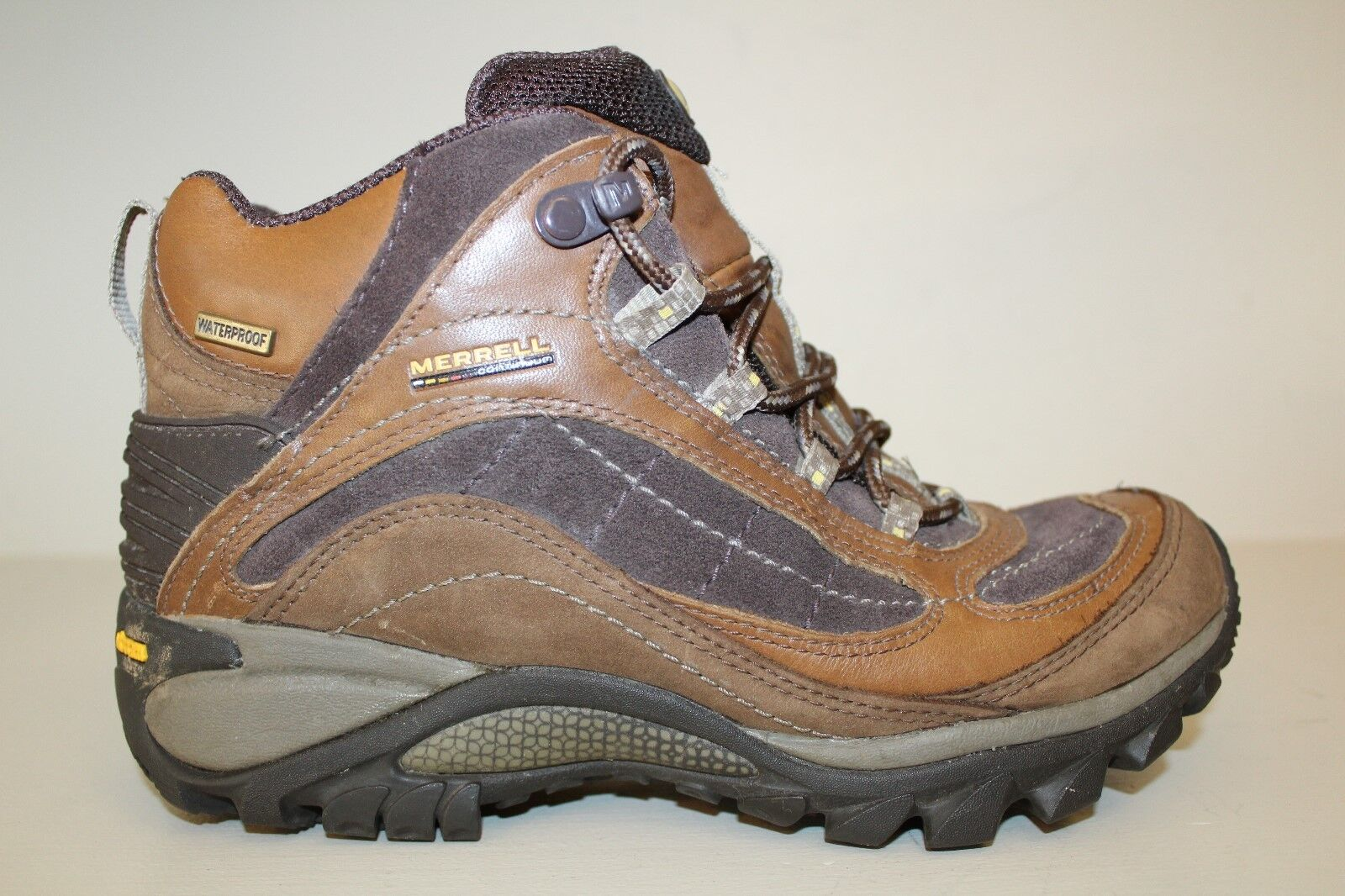 MERRELL Womens Hiking Boots Sz 7   37.5 Continuum Brown Leather Waterproof shoes