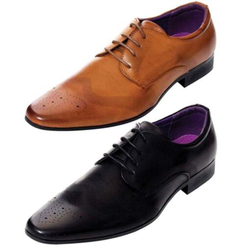 Mens Faux Leather Designer Brogue Shoes Smart Formal Wedding Office Lace Up BNIB
