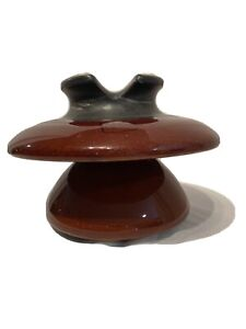 collectible pretty porcelain Large Mottled Brown Porcelain Insulator Brown Porcelain Insulator