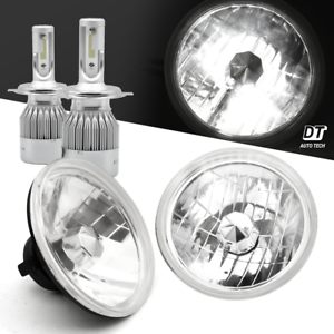 7-034-Sealed-Beam-Headlight-Conversion-Chrome-Clear-Lens-100W-H4-CREE-LED-Kit