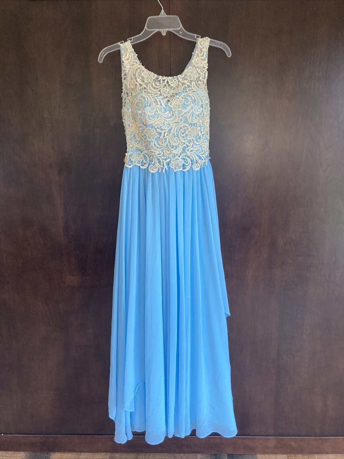 Hand-made Blue Prom/Pageant Dress with Lace and Jewels, Size 0