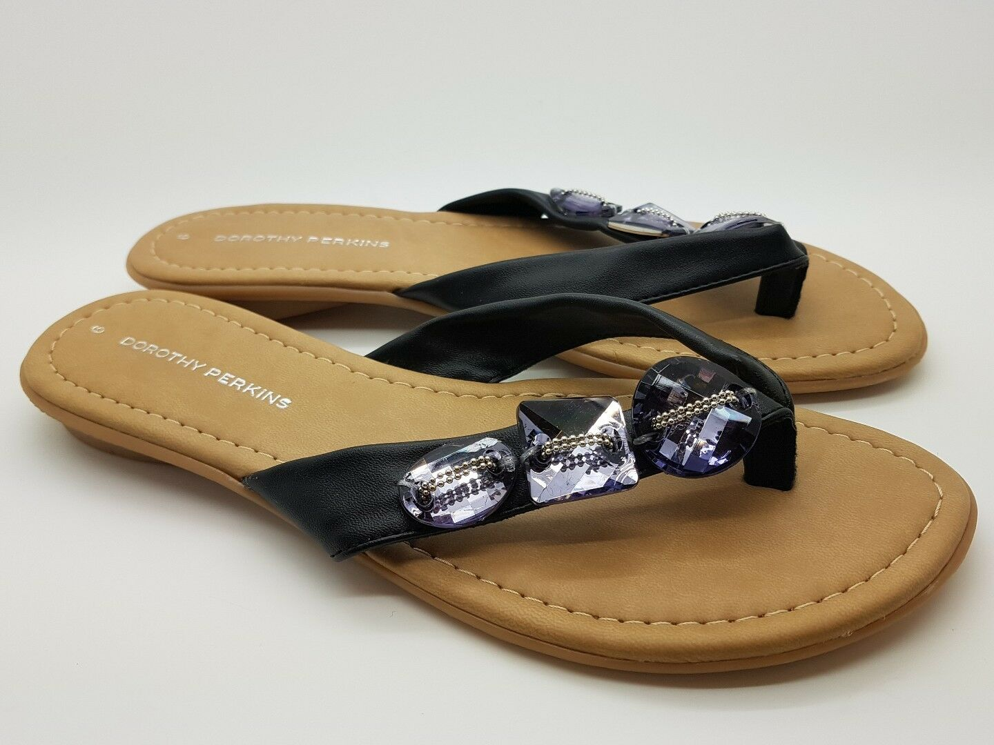 Dorothy Faux Perkins Sandals Slip On Faux Dorothy Leather Crystal Detail Black 51d0be