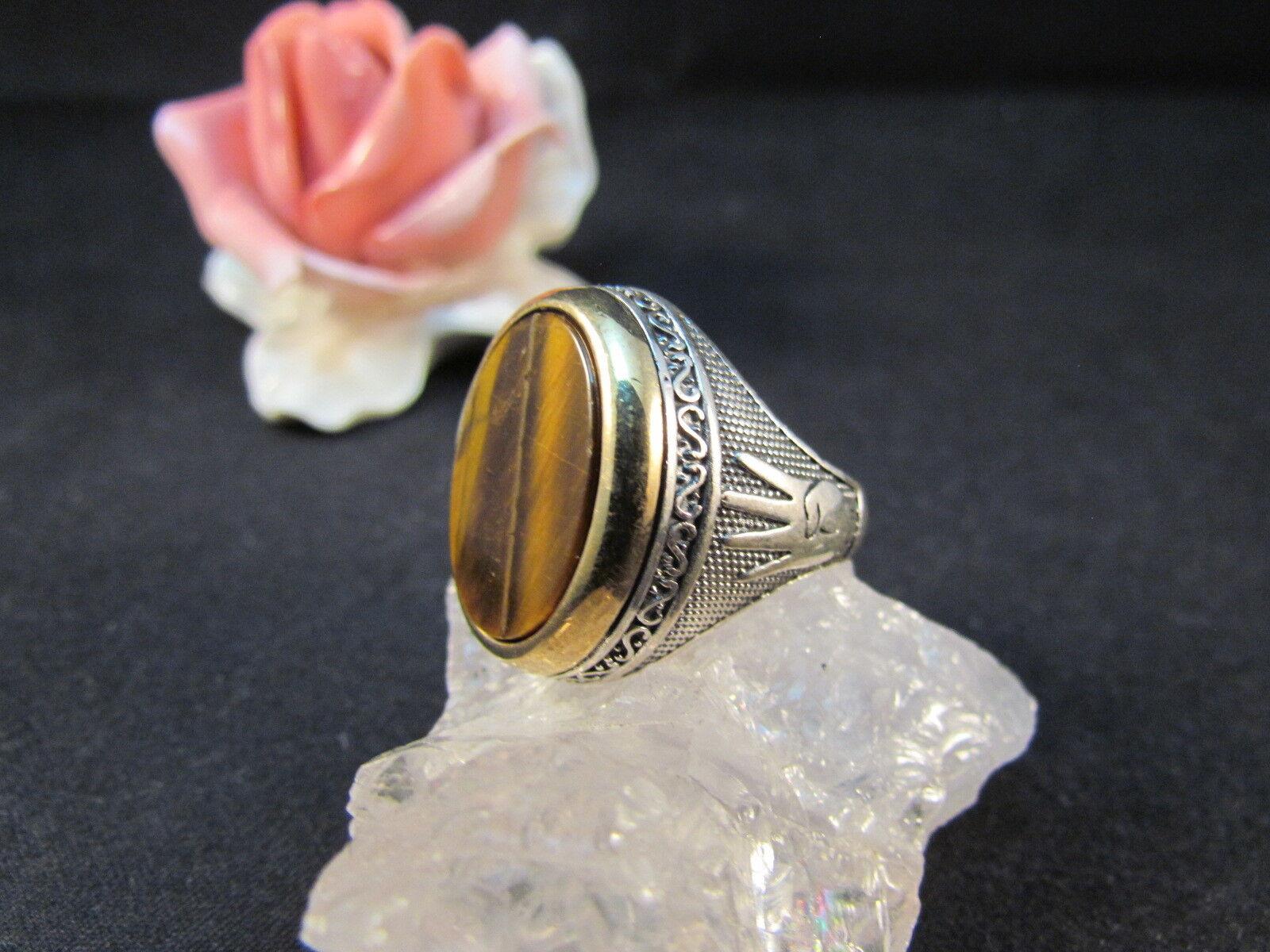 silverring Männerring Siegelring Ring Sterlingsilver 925 Handarbeit Tigerauge 61